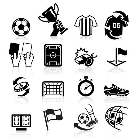 buiten sporten: Voetbal iconen. Vector illustratie Stock Illustratie