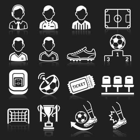 Soccer icons on black background. Vector illustration Stock Vector - 29298929