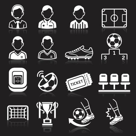 Soccer icons on black background. Vector illustration Stock Vector - 29298929