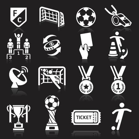 Voetbal pictogrammen op zwarte achtergrond. Vector illustratie