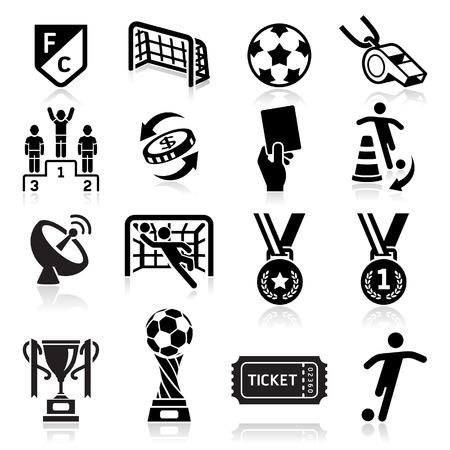 pelotas de futbol: Iconos F�tbol. Ilustraci�n vectorial
