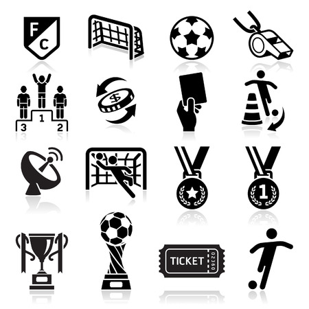 Voetbal iconen. Vector illustratie Stock Illustratie