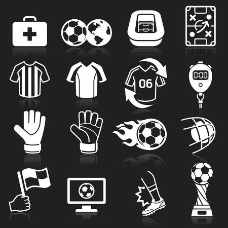 arquero de futbol: Iconos de fútbol en fondo negro. Ilustración vectorial Vectores