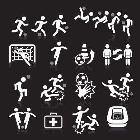 Soccer icons on black background. Vector illustration Vetores