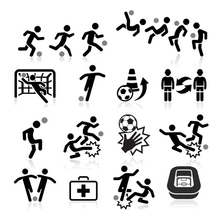 team sports: Soccer icons. Vector illustration