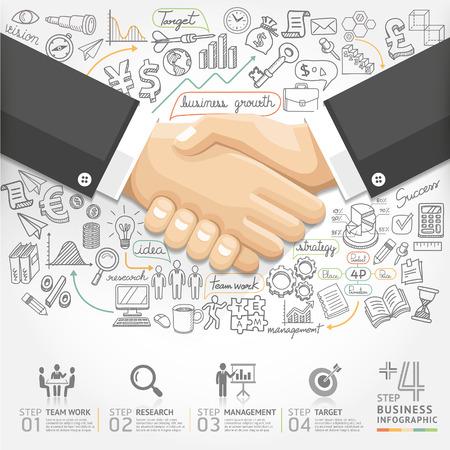 обращается: Бизнес рукопожатие вариант Инфографика. Векторная иллюстрация. может использоваться для разметки рабочего процесса, баннер, диаграммы, Настройки Количество, активизировать опции, веб-дизайн