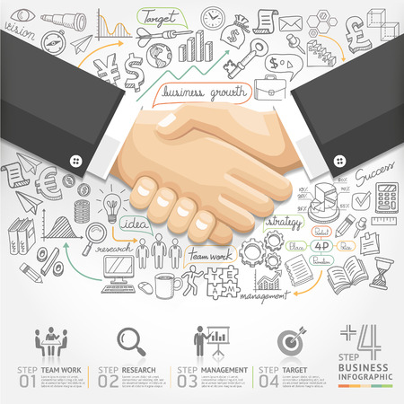 handshake icon: Business handshake Infographics option. Vector illustration. can be used for workflow layout, banner, diagram, number options, step up options, web design