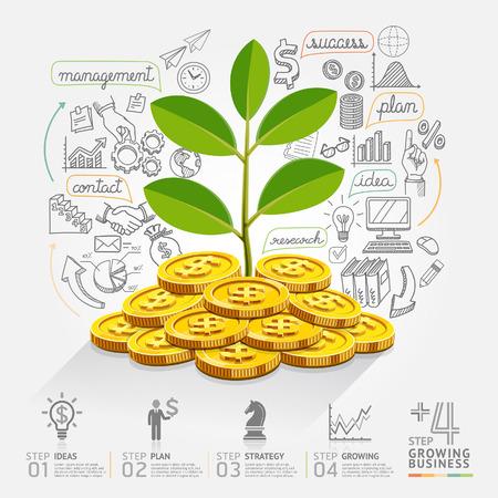 dinero: El crecimiento del negocio opción infografía. Ilustración del vector. se puede utilizar para el diseño del flujo de trabajo, bandera, diagrama, opciones numéricas, intensificar opciones, diseño de páginas web.