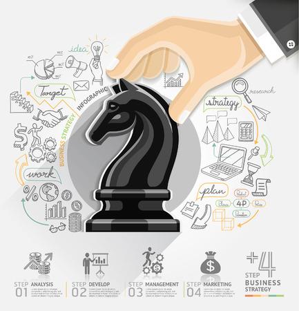 Bedrijfsstrategie infographics optie. Vector illustratie. kan gebruikt worden voor workflow lay-out, banner, diagram, het aantal opties, intensiveren opties, web design. Stock Illustratie