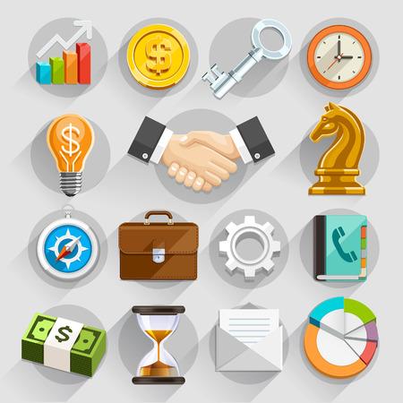 negocios: Negocios iconos planos de color ajustado. Ilustración vectorial Vectores