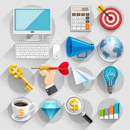 Business flat icons color set. Vector illustration Illustration