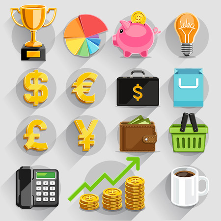 bag of money: Business flat icons color set. Vector illustration Illustration