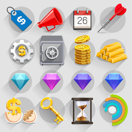 Business flat icons color set. Vector illustration Ilustração