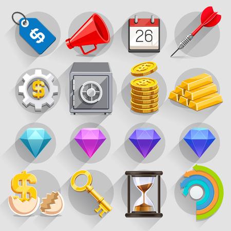 caja fuerte: Negocios iconos planos de color ajustado. Ilustración vectorial Vectores