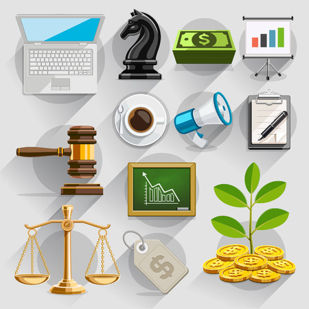grow money: Business flat icons color set. Vector illustration Illustration