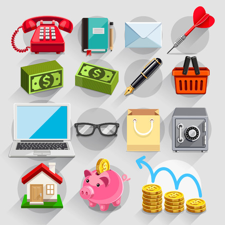 piggies: Business flat icons color set. Vector illustration Illustration