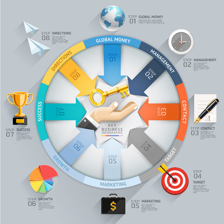 diagrama: Diagrama de flechas de negocios. Mano con clave. Ilustraci�n del vector. se puede utilizar para el dise�o del flujo de trabajo, bandera, opciones num�ricas, intensificar opciones, dise�o web, infograf�a.