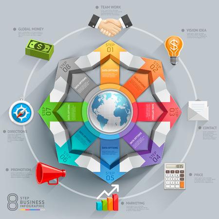 bussola: Affari diagramma freccia globale. Illustrazione vettoriale. può essere utilizzato per il layout del flusso di lavoro, banner, opzioni di numero, intensificare le opzioni, web design, infografica.