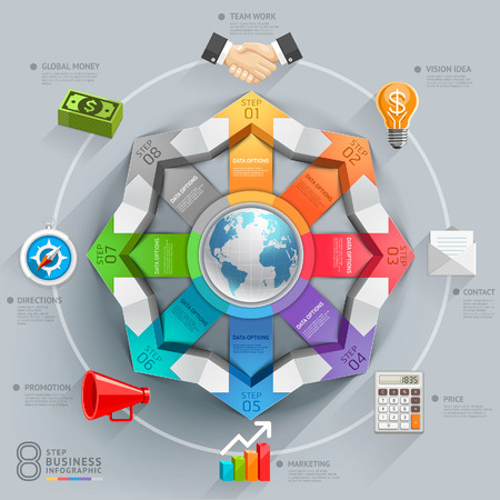 empresario: Diagrama de flechas mundial de negocios. Ilustraci�n del vector. se puede utilizar para el dise�o del flujo de trabajo, bandera, opciones num�ricas, intensificar opciones, dise�o web, infograf�a. Vectores