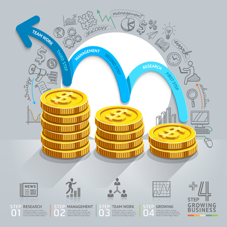 finances: Business growth step infographics option. Vector illustration. can be used for workflow layout, banner, diagram, number options, step up options, web design.