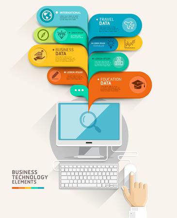 İş teknolojisi kavramı. Bilgisayar ve kabarcık konuşma şablon. Vector illustration. seçenekleri, web tasarım, afiş şablon, infografik hızlandırmaya, iş akışı düzeni, diyagram, numara seçenekleri için kullanılabilir. Çizim