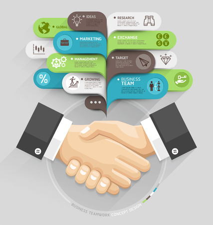 infografica: Business stretta di mano e fumetto modello di stile. Illustrazione vettoriale. può essere utilizzato per il layout del flusso di lavoro, diagramma, opzioni di numero, intensificare le opzioni, web design, banner template, infografica.