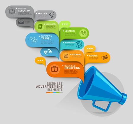 plantilla: Concepto de negocio. Megáfono y plantilla con forma de burbuja. Ilustración del vector. se puede utilizar para el diseño del flujo de trabajo, diagrama, opciones numéricas, intensificar opciones, diseño web, plantilla de la bandera, infográficos. Vectores