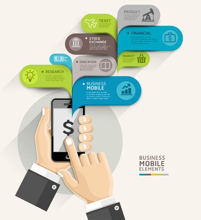 モバイル ビジネス バブル音声テンプレート スタイル。ベクトル イラスト。ワークフローのレイアウト、図、番号のオプションを使用することがで
