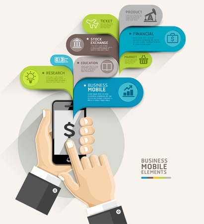 smartphone mano: Cellulare bolla business stile template discorso. Illustrazione vettoriale. pu� essere utilizzato per il layout del flusso di lavoro, diagramma, opzioni di numero, intensificare le opzioni, web design, banner template, infografica. Vettoriali