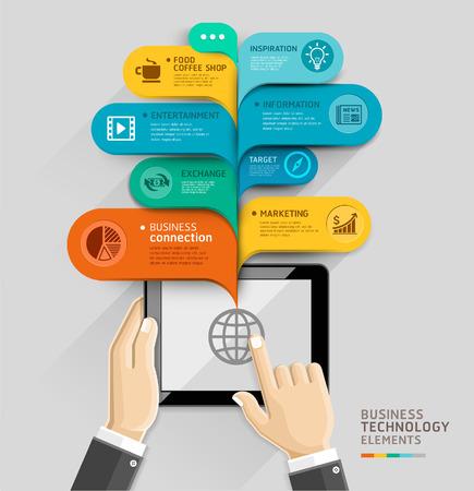 hablando: Tecnolog�a de negocios de estilo plantilla con forma de burbuja. Ilustraci�n del vector. se puede utilizar para el dise�o del flujo de trabajo, diagrama, opciones num�ricas, intensificar opciones, dise�o web, plantilla de la bandera, infogr�ficos. Vectores