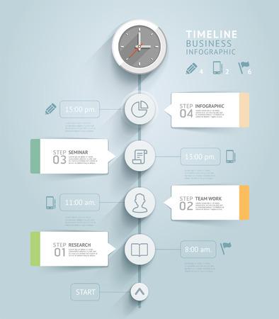 Modèle infographique Timeline. Vector illustration. peut être utilisé pour flux de travail mise en page, bannière, diagramme, les options numériques, web design. Illustration