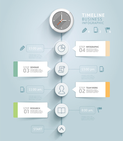 computer graphics: Plantilla infograf�a l�nea de tiempo. Ilustraci�n del vector. se puede utilizar para el dise�o del flujo de trabajo, bandera, diagrama, opciones de n�mero, dise�o de p�ginas web.