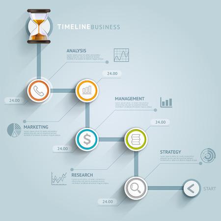 タイムラインのインフォ グラフィック テンプレート。ベクトル イラスト。ワークフローのレイアウト、バナー、図、番号のオプション、web デザイ