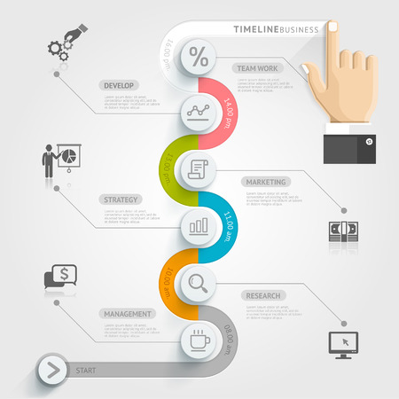 Business timeline infographic template. Vector illustration. can be used for workflow layout, banner, diagram, number options, web design. Vettoriali
