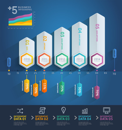 3d arrow infographics. Vector illustration. can be used for workflow layout, banner, diagram, number options, step up options, web design.  イラスト・ベクター素材