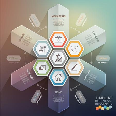 grafiken: 3d Pfeil Timeline Infografiken. Vektor-Illustration. kann für Workflow-Layout, Banner, Diagramm, Anzahl Optionen verwendet werden, Step Up-Optionen, Web-Design.