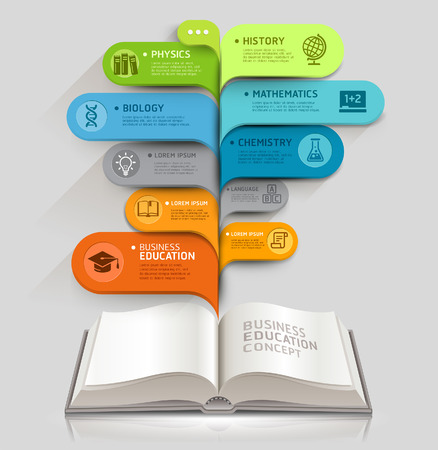 Education icons and Open books with bubble speech template  can be used for workflow layout, diagram, number options, step up options, web design, banner template, infographics  Vectores