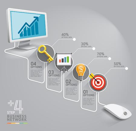 Red informática de negocios se puede utilizar para el diseño del flujo de trabajo, bandera, diagrama, diseño web, plantilla de infografía Vectores