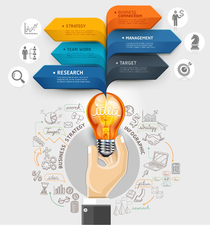 marketing icon: Business ideas concept  Hand holding light bulb and bubble speech arrow template  Can be used for workflow layout, banner, diagram, web design, infographic template  Illustration