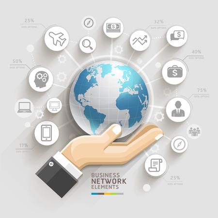 földgolyó: Üzleti számítógépes hálózat üzleti kéz a globális sablon használható munkafolyamat elrendezés, banner, diagram, web design, infographic sablon