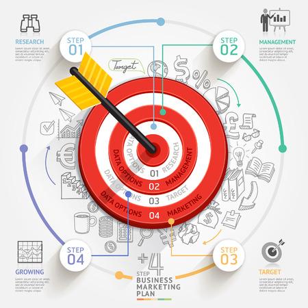 화살표와 낙서 아이콘 비즈니스 대상 마케팅 개념의 목표는 워크 플로우 레이아웃, 배너, 다이어그램, 웹 디자인, 인포 그래픽 템플릿을 사용할 수 있