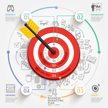 marketing icon: Business target marketing concept  Target with arrow and doodles icons  Can be used for workflow layout, banner, diagram, web design, infographic template