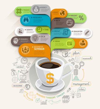 ビジネス思考の概念のコーヒー カップとバブル音声テンプレート ワークフロー レイアウト、バナー、図、web デザイン、インフォ グラフィック テ