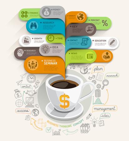 Business thinking concept  Coffee cup and bubble speech template  Can be used for workflow layout, banner, diagram, web design, infographic template Imagens - 30824826