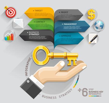 schema: Mano di affari con la chiave e la bolla di discorso template freccia pu� essere utilizzato per il layout del flusso di lavoro, bandiera, diagramma, web design, template infografica Vettoriali
