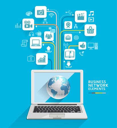 비즈니스 컴퓨터 네트워크는 워크 플로우 레이아웃, 배너, 다이어그램, 웹 디자인, 인포 그래픽 템플릿을 사용할 수 있습니다 일러스트