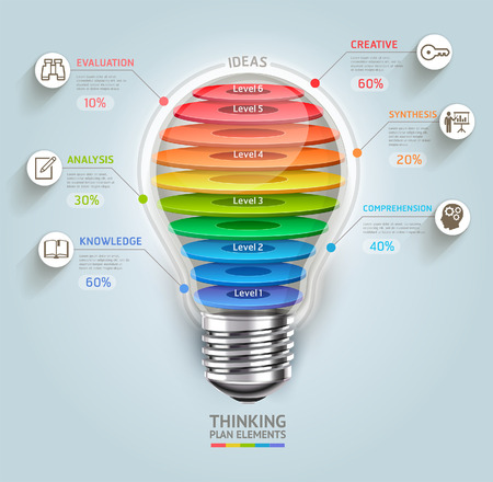 aprendizaje: El pensamiento de negocios cronograma Bombilla con iconos se puede utilizar para el diseño del flujo de trabajo, bandera, diagrama, diseño web, plantilla de infografía