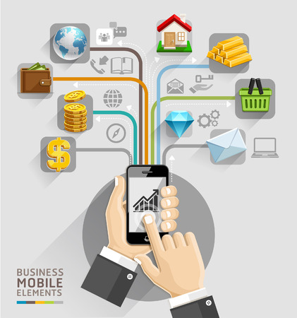 real estate icons: Business computer network  Business hand with mobile template  Can be used for workflow layout, banner, diagram, web design, infographic template  Illustration