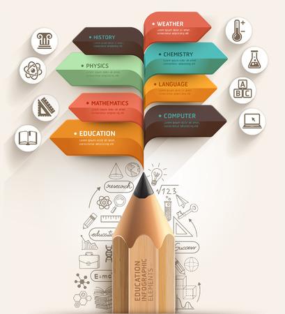 Концепция образования Карандаш и шаблон пузырь речи стрелка может быть использован для разметки рабочего процесса, диаграммы, Настройки Количество, активизировать опции, веб-дизайн, шаблон баннера, инфографики