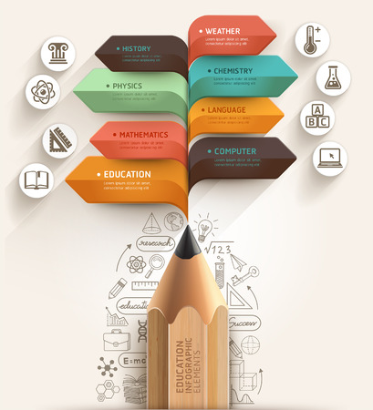 alumno estudiando: Concepto de la educaci�n L�piz y plantilla de la burbuja del discurso de flecha se pueden utilizar para el dise�o del flujo de trabajo, diagrama, opciones num�ricas, intensificar opciones, dise�o web, plantilla de la bandera, infogr�ficas Vectores